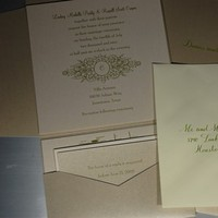 Stationery, green, gold, Invitations, The left handed calligrapher - calligraphy