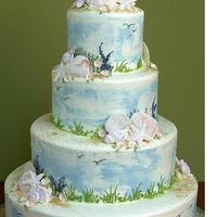 Inspiration, Reception, Flowers & Decor, Cakes, white, yellow, blue, brown, cake, Board