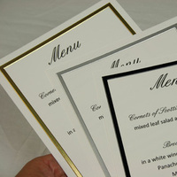 Stationery, white, black, silver, gold, Invitations, Menu