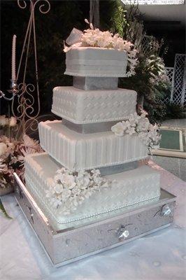 Cakes, white, silver, cake, La nanas art bakery