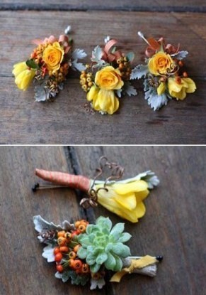 Flowers & Decor, orange, Fall, Flowers, Fall Wedding Flowers & Decor, Bouts, Succulents