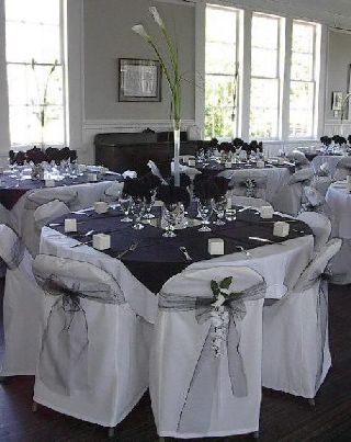 Inspiration, Reception, Flowers & Decor, white, black, silver, Flowers, Table, Board, Chair, Covers, Settings, Superior event planning
