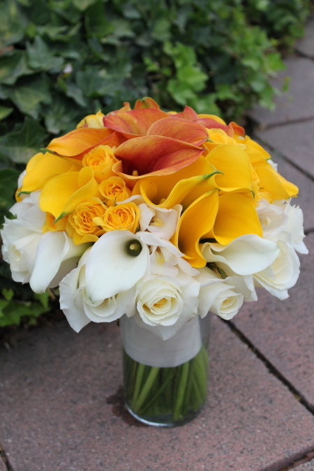 Flowers & Decor, white, ivory, yellow, orange, gold, Bride Bouquets, Flowers, Bouquet, Calla, Lilies, Bridal, Mango, Art with nature floral design, Biedermeier