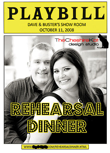Stationery, white, yellow, black, Invitations, Program, Rehearsal dinner, The cheshire kat design studio, Playbill