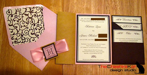 Stationery, pink, brown, Invitations, Pocketfold, The cheshire kat design studio, Pocketfolder, Lined envelope