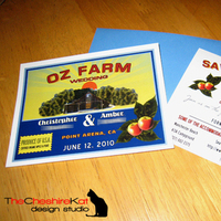 Stationery, yellow, orange, red, blue, brown, Invitations, Save-the-Dates, Save the date, Card, Farm, Orchard, The cheshire kat design studio, Vintage fruit crate label