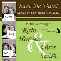 Stationery, green, brown, Invitations, Save-the-Dates, Save the date, Photo booth, Magnet, The cheshire kat design studio
