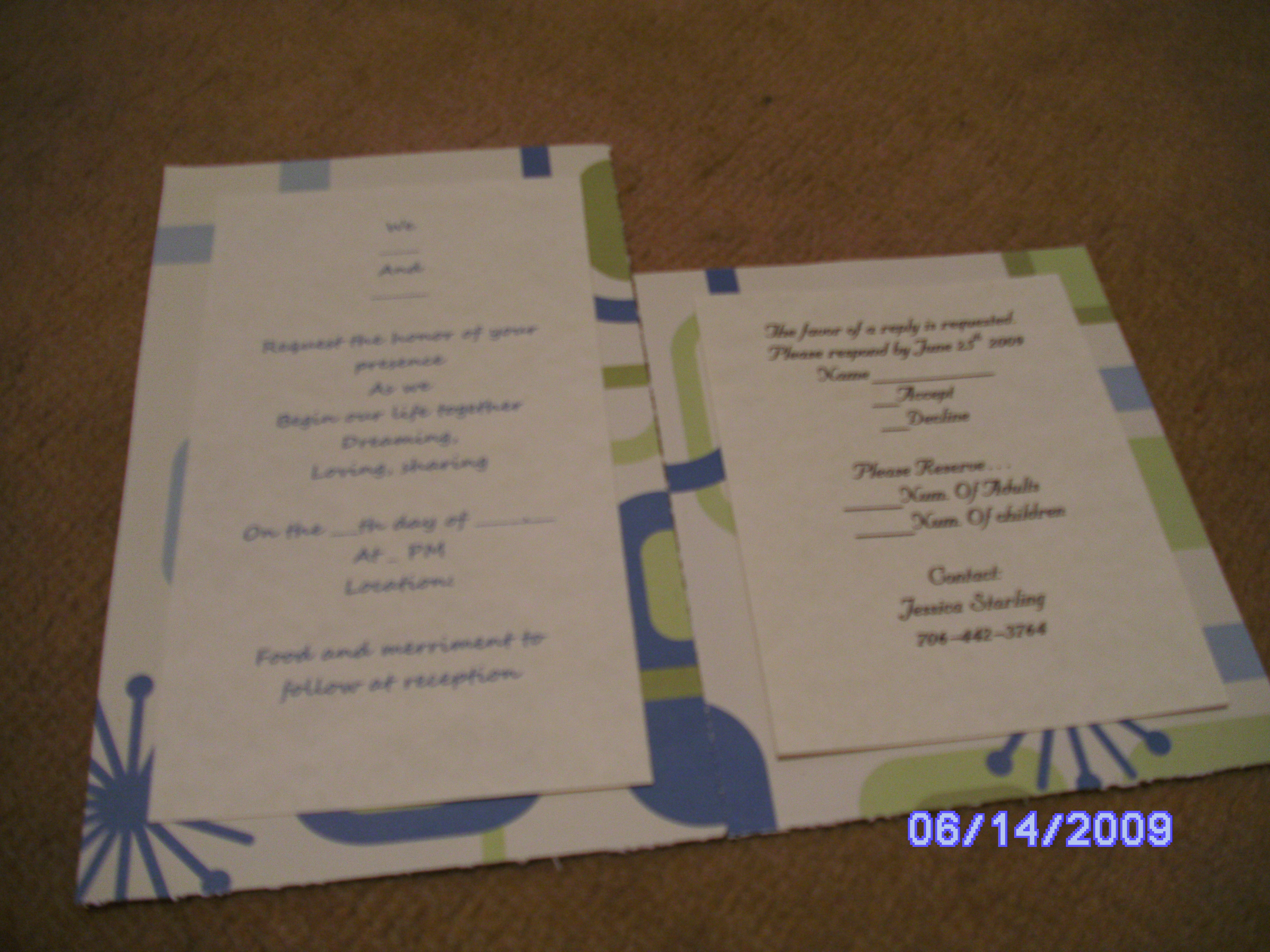 Stationery, blue, green, Invitations, Jessicas custom invitations