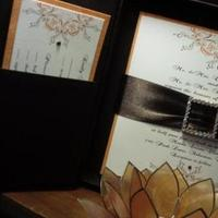 Stationery, orange, brown, invitation, Invitations, Boxed, Swarovski, Set, Silk, Crystals, Thai, Embellished, Sleepy hedgehog press