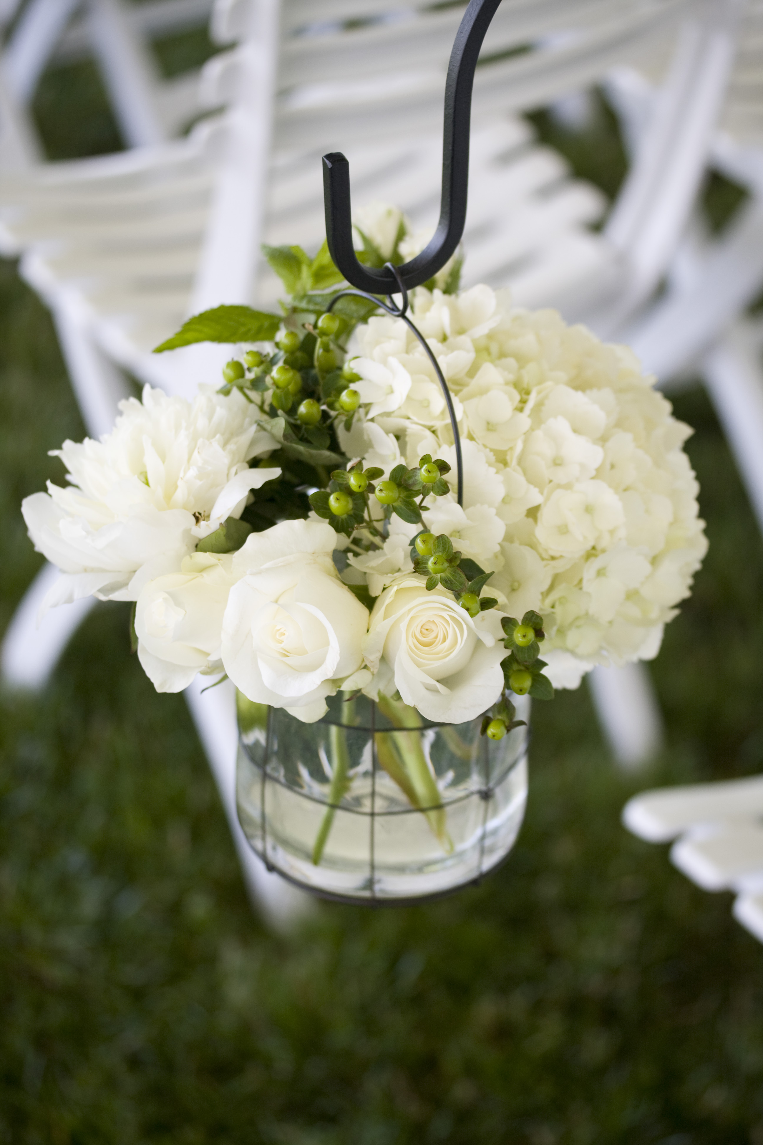 Flowers & Decor, white, green, Ceremony Flowers, Aisle Decor, Classic Wedding Flowers & Decor, Summer Wedding Flowers & Decor