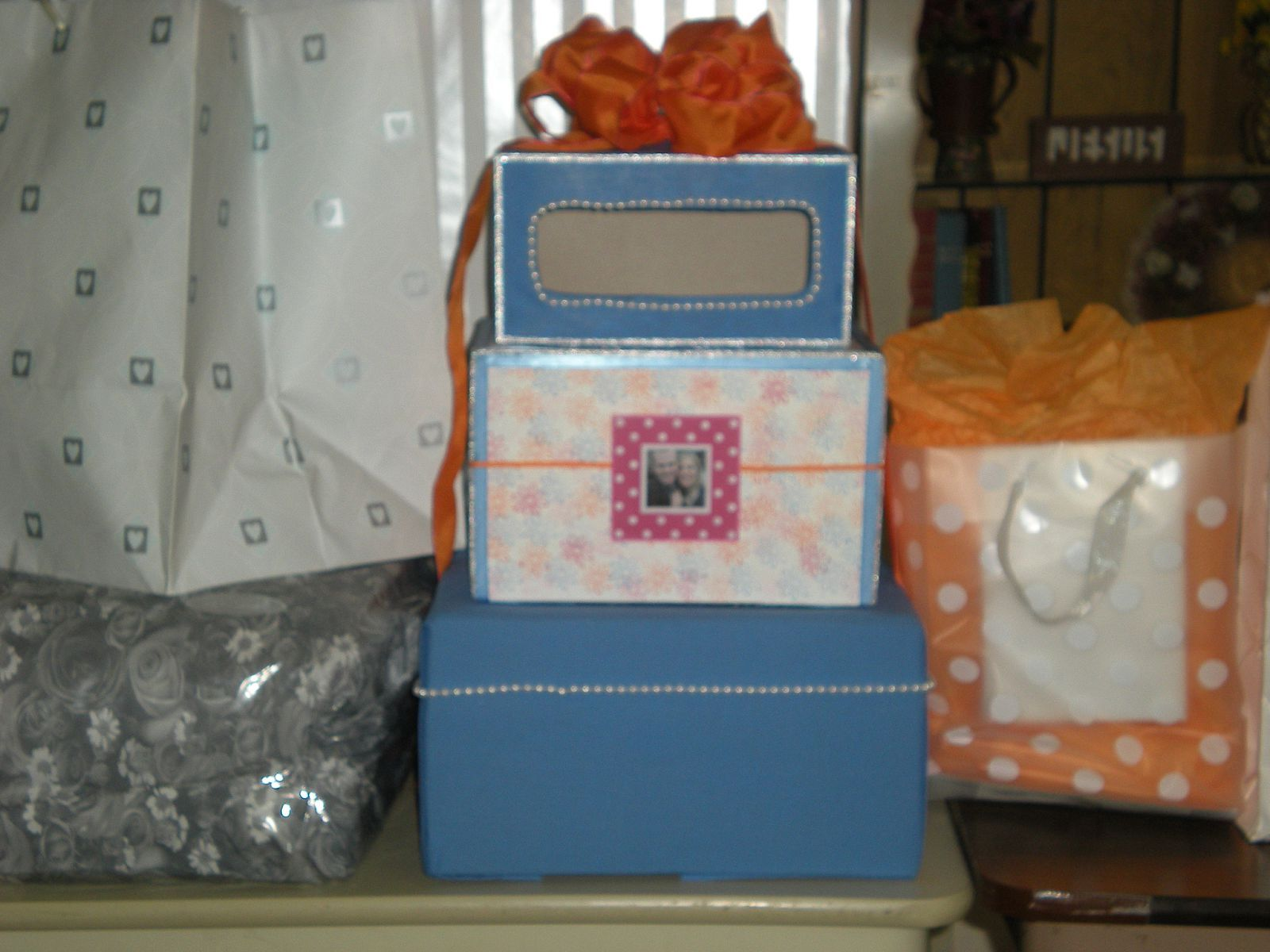Reception, Flowers & Decor, orange, pink, blue, Box, Card