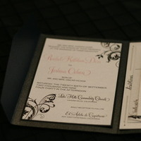 Stationery, pink, black, Invitations