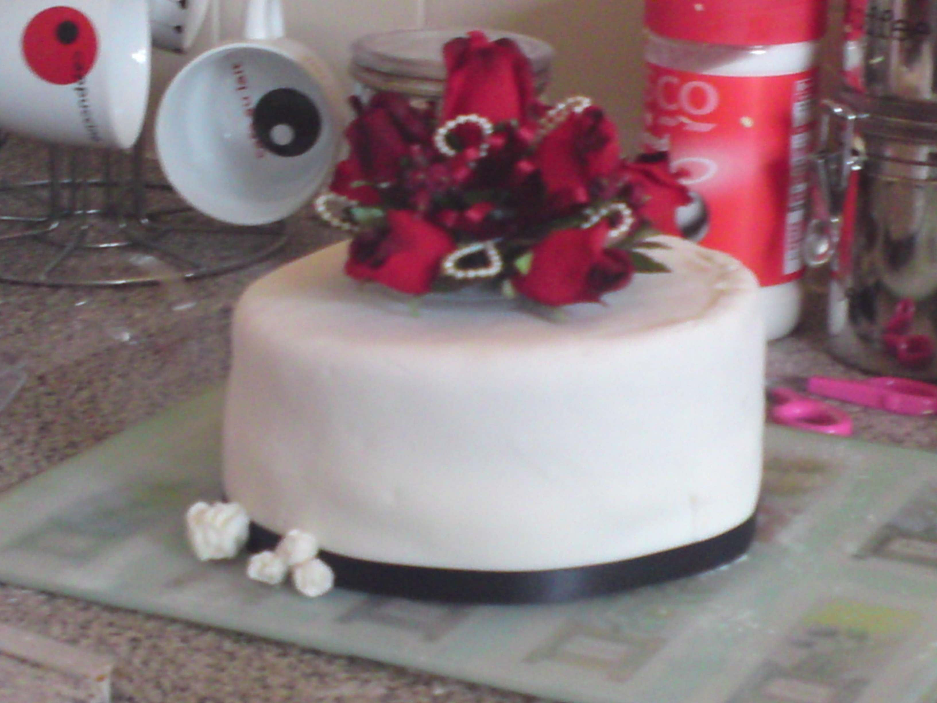 Cakes, white, red, cake, Topper