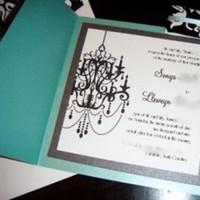 Stationery, white, blue, black, Invitations, Tiffany, Chandelier, Damask, Jujubee designs