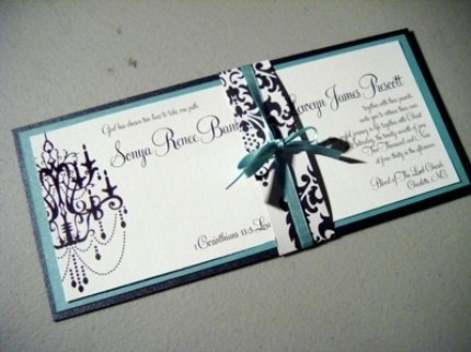 Stationery, white, blue, black, Invitations, Tiffany, Chandelier, Damask, Jujubee designs