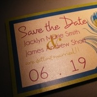 Stationery, yellow, purple, blue, green, Invitations, Save-the-Dates, Peacock, Jujubee designs