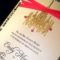 Stationery, white, yellow, pink, black, gold, Invitations, Ribbon, Chandelier, Damask, Embossed, Jujubee designs