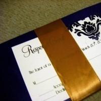 Stationery, purple, gold, Invitations, Ribbon, Damask, Eggplant, Embossed, Jujubee designs