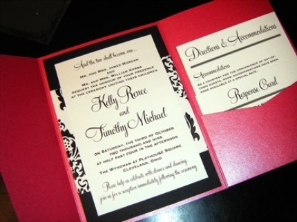 Stationery, white, pink, black, Invitations, Pocketfold, Damask, Jujubee designs