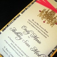 Stationery, white, yellow, pink, black, gold, Invitations, Ribbon, Chandelier, Damask, Crystals, Embossed, Jujubee designs