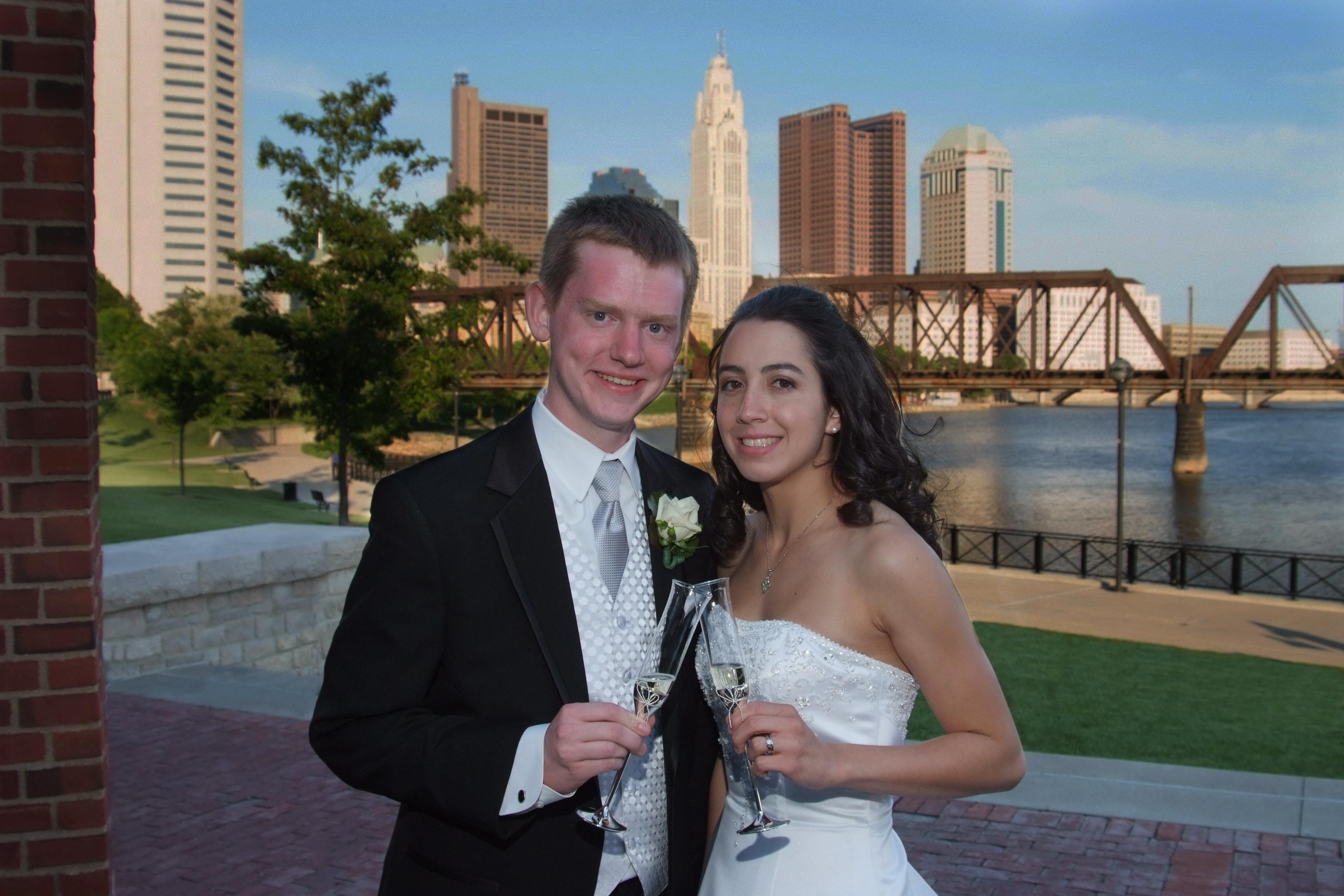 Ceremony, Flowers & Decor, Wedding Dresses, Fashion, white, black, silver, dress, Toasting, Skyline, Ohio, Columbus, Columbus ohio photographer