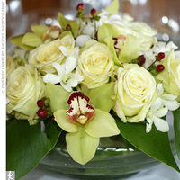 Reception, Flowers & Decor, white, yellow, green, Centerpieces, Centerpiece