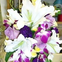Flowers & Decor, white, purple, Bride Bouquets, Flowers, Bouquet, Bridal, Rose, Lily, Blush custom weddings, Orcchids