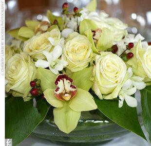 Reception, Flowers & Decor, white, yellow, green, Centerpieces, Centerpiece