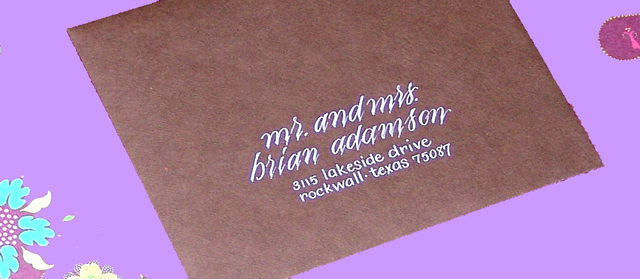 Calligraphy, Stationery, purple, Invitations, Envelope, Address, A written treasurecom