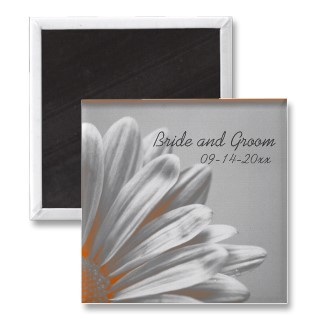 Flowers & Decor, Favors & Gifts, Stationery, orange, favor, Announcements, Flower, Save the date, Floral, Daisy, Announcement, Save the date magnet, A wedding collection by lora severson photography, Floral wedding, Wedding magnet, Daisy wedding