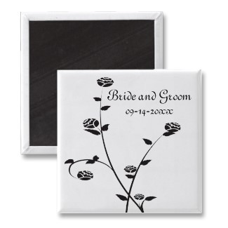Flowers & Decor, Favors & Gifts, Stationery, white, black, favor, Announcements, Invitations, Save-the-Dates, Flower, Save the date, Floral, Rose, Announcement, Magnet, Magnets, Save the date magnet, A wedding collection by lora severson photography, Floral wedding, Black and white wedding, Wedding magnet