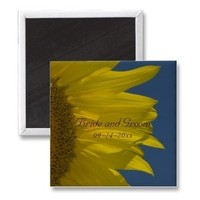 Flowers & Decor, Favors & Gifts, Stationery, yellow, blue, favor, Announcements, Invitations, Save-the-Dates, Flower, Save the date, Floral, Announcement, Sunflower, Save the date magnet, A wedding collection by lora severson photography, Sunflower wedding, Floral wedding, Wedding magnet