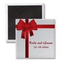 Favors & Gifts, Stationery, red, favor, Announcements, Invitations, Save-the-Dates, Save the date, Bow, Winter wedding, Save the date magnet, Holiday wedding, Christmas wedding, Wedding magnet