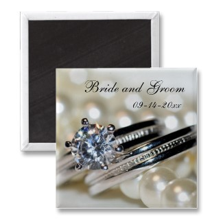 Favors & Gifts, Stationery, white, silver, favor, Invitations, Save-the-Dates, Save the date, Ring, Pearls, Diamond, Magnet, Magnets, Diamond ring, Save the date magnet, A wedding collection by lora severson photography, Wedding magnet