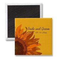 Flowers & Decor, Favors & Gifts, Stationery, yellow, orange, favor, Announcements, Invitations, Save-the-Dates, Flower, Save the date, Floral, Announcement, Sunflower, Save the date magnet, A wedding collection by lora severson photography, Sunflower wedding, Floral wedding, Wedding magnet