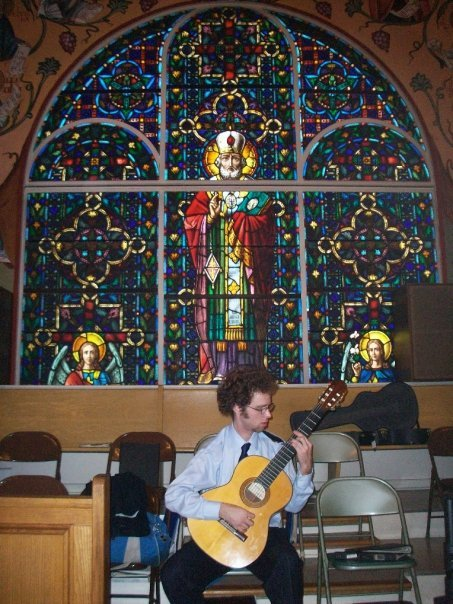 Ceremony, Inspiration, Flowers & Decor, white, yellow, orange, pink, red, purple, blue, green, brown, black, silver, gold, Board, Guitar, Glass, Stained, Nate dickinson, classical guitarist