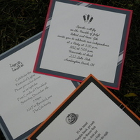 Stationery, white, orange, red, blue, black, silver, Invitations, Whitney westberry events and invitations