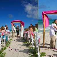 Ceremony, Flowers & Decor, Destinations, pink, Hawaii, Beach, Beach Wedding Flowers & Decor, Wedding, Kiss