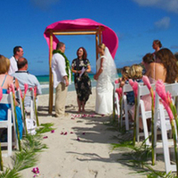 Ceremony, Flowers & Decor, Destinations, blue, Hawaii, Beach, Beach Wedding Flowers & Decor, Couple