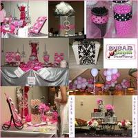 Favors & Gifts, Cakes, white, pink, black, cake, Favors, Party, Candy, Stations, Buffets, Sugar bunch creations