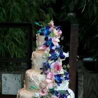 Reception, Flowers & Decor, Cakes, white, pink, purple, blue, cake, White orchid soiree