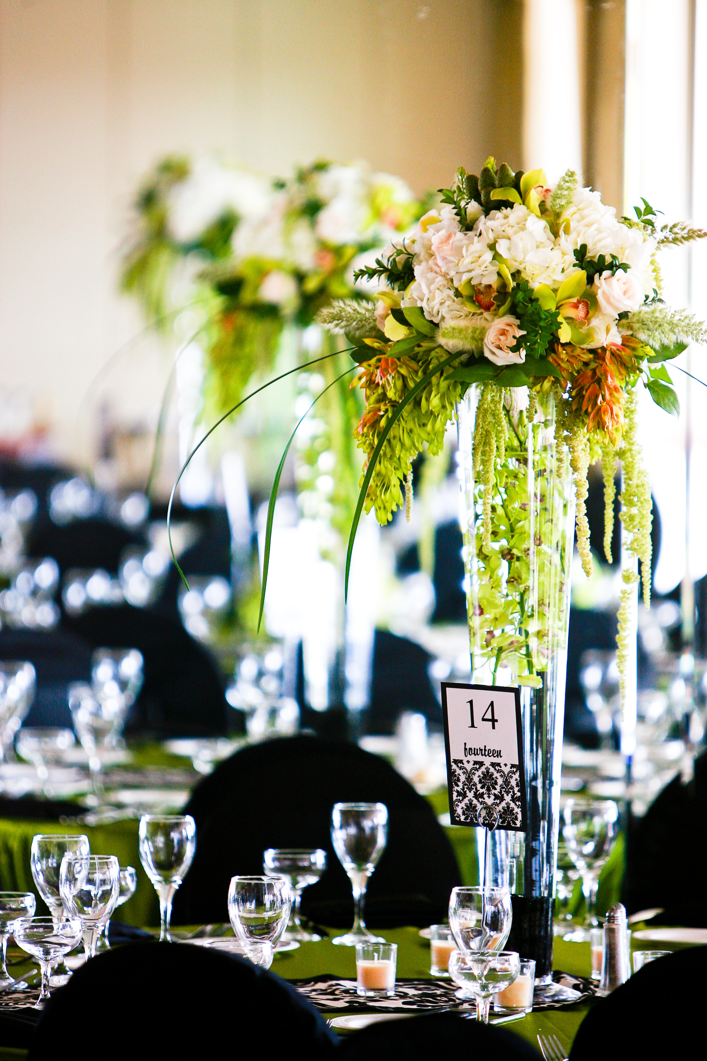 Reception, Flowers & Decor, white, green, black, Aisle Decor, Flowers, Aisle, Runner, Damask