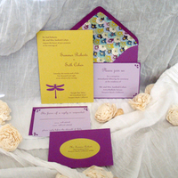 Stationery, purple, green, invitation, Invitations, Wedding, Motif, Dragonfly, Paperpunchpress