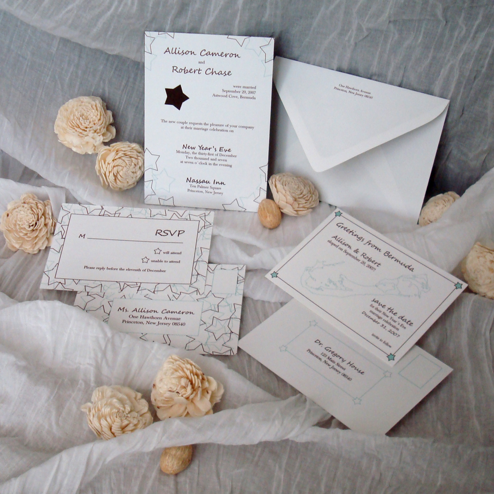 Stationery, white, blue, brown, invitation, Modern Wedding Invitations, Invitations, Wedding, Star, Motif, Paperpunchpress