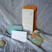 Stationery, white, orange, blue, green, Invitations, Butterfly, Long, Wrap, Invite, Decorative, Motif, Vertical, Paperpunchpress