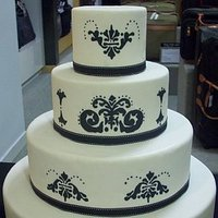 Cakes, white, black, cake, Modern, Modern Wedding Cakes, Damask, The hudson cakery