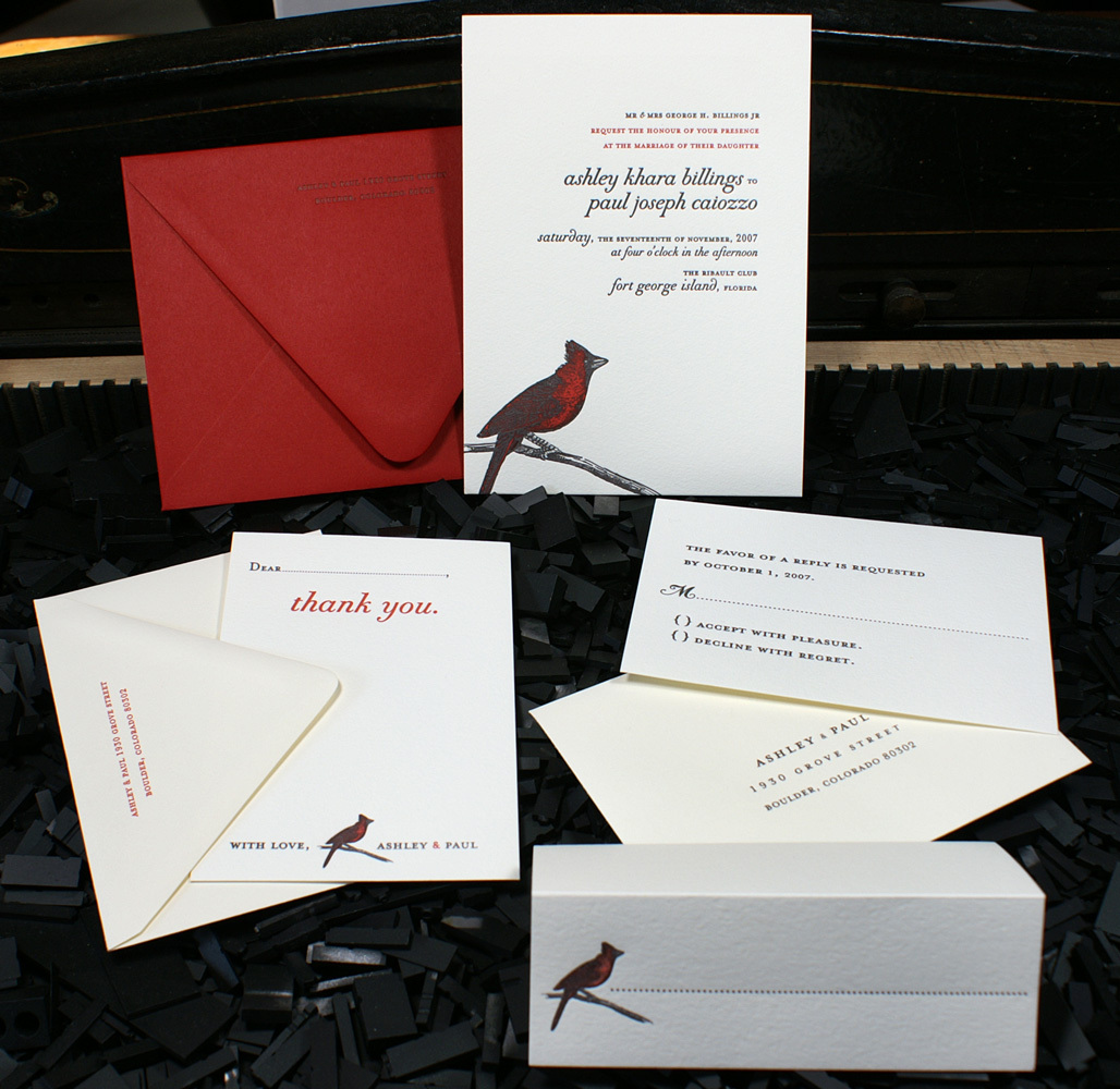 Stationery, white, red, black, invitation, Invitations, Custom, Bird, Letterpress, Wedding invitation, Copperplate, Smokeproof press, Cardinal