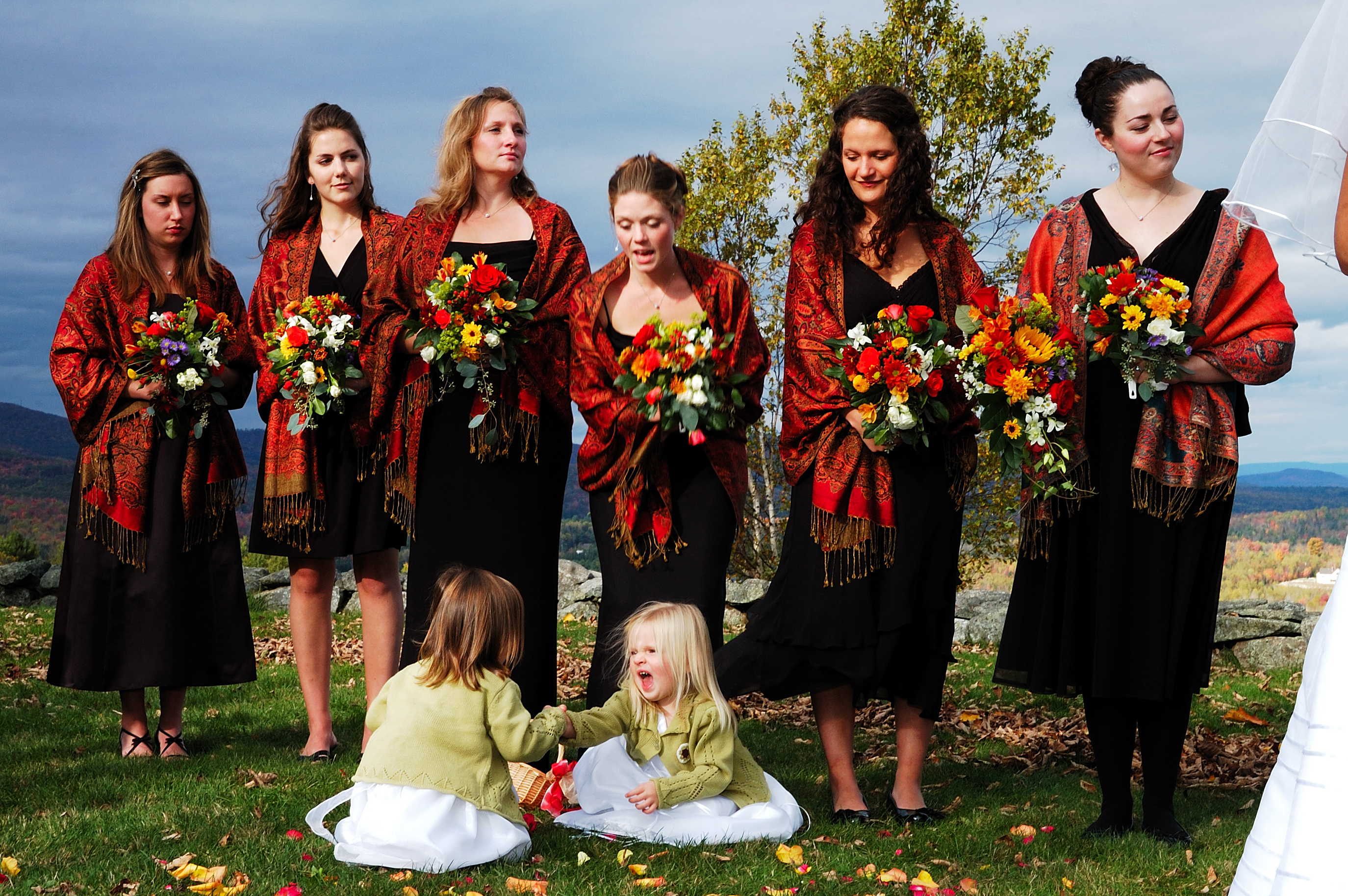 Ceremony, Flowers & Decor, Bridesmaids, Bridesmaids Dresses, Wedding Dresses, Fashion, white, orange, red, green, black, dress, Ceremony Flowers, Bridesmaid Bouquets, Flowers, Flower, Girl, Flower Wedding Dresses