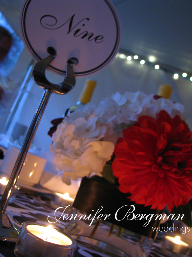 Reception, Flowers & Decor, Stationery, red, black, Table Numbers, Flowers, Table number, Tent, Damask, Outdoor reception, Candlelight, Edmonton, Alberta, Jennifer bergman weddings