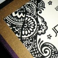 Stationery, purple, black, gold, Invitations, Lace, Henna, Mehndi, Jujubee designs
